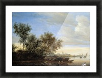 River landscape with ferry Sun Picture Frame print