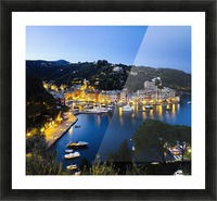 View of the harbour at dusk; Portofino, Liguria, Italy Picture Frame print