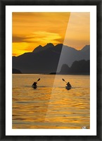 Sea Kayaking on a sublime evening in Lynn Canal near Eagle Beach State Recreation Area, Juneau. Alaska. Chilkat Mountains beyond in the distance. Picture Frame print