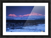 Alpenglow on Mt. McKinley and Mt. Hunter as seen from the Denali South Overlook along the Parks Highway, Denali State Park, Alaska, Winter Picture Frame print