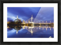 Canadian Museum for Human Rights and Esplanade Riel bridge reflected in the Red River; Winnipeg, Manitoba, Canada Picture Frame print