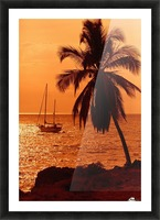 Sailboat and palm tree at sunset; Kihei, Maui, Hawaii, United States of America Picture Frame print