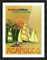 American Airlines endless summer Acapulco poster Picture Frame print