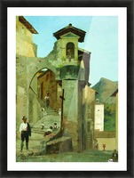 Italian courtyard Picture Frame print