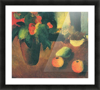 Still Life with begonia, apples and pear by August Macke Picture Frame print