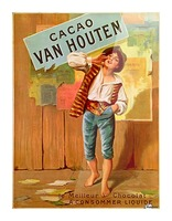 French Art Nouveau Period Poster for Cacao Van Houten Picture Frame print