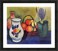 White jug with flowers and fruits by August Macke Picture Frame print