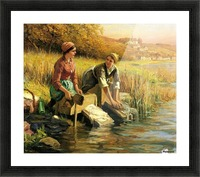 Women washing clothes by a stream Picture Frame print