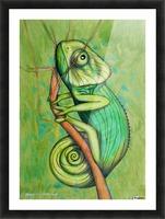 green chameleon Picture Frame print
