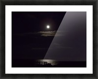 Moon over Docks and Pier Picture Frame print