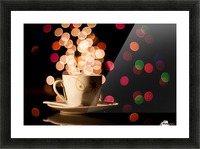 Christmas background with cup of tea Picture Frame print