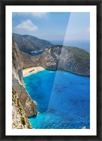 Navagio beach with shipwreck and flowers on Zakynthos island in Greece Picture Frame print