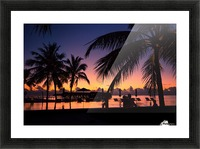 Silhouette coconut palm trees on beach at sunset. Vintage tone Picture Frame print