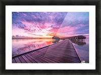 Amazing tropical sunset beach, luxury overwater bungalow Picture Frame print