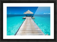 View of water bungalow in tropical island, Maldives, Indian ocean Picture Frame print