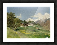 Rural house at the base of Alps Picture Frame print
