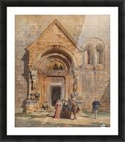 Kirchenportal und Personengruppe 1842 Picture Frame print