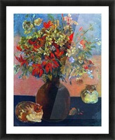 Flowers and Cats by Gauguin Picture Frame print