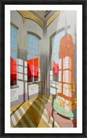 abandoned room with the empire state building Picture Frame print