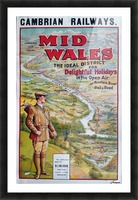 Original vintage poster golf Cambrian railways Mid Wales river Picture Frame print