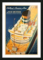 Holland - America Line vintage travel poster Picture Frame print