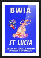 BWIA St Lucia original travel poster Picture Frame print