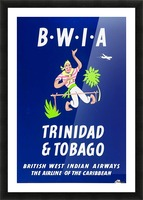 BWIA Trinidad Tobago original travel poster Picture Frame print