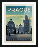 Prague vintage travel poster Impression et Cadre photo