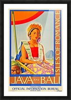Java and Bali travel poster Picture Frame print