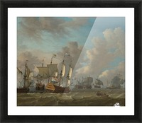 Dutch ships in a naval skirmish Picture Frame print
