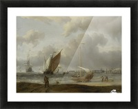 Fishing boats in storm off the Dutch Coast at Den Helder Picture Frame print
