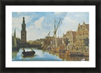 Singel in Amsterdam with the Jan Roodenpoortstoren Picture Frame print