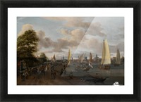 The river Buiten-Amstel with a trekschuit and other shipping Picture Frame print