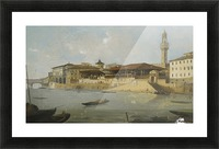 Florence, a view of the Arno with the Tiratoio delle Grazie Picture Frame print