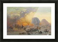 A caravan fleeing from a desert simoom near the sphinx Picture Frame print