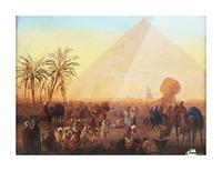 Caravan having a break at the pyramids Picture Frame print