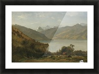 Landscape with a lake and animals Picture Frame print