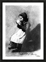 Girl Drinking from a Bowl Picture Frame print