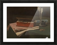 Still Life with Book, Papers and Inkwell Picture Frame print
