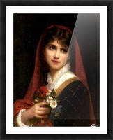 A young beauty wearing a red veil Picture Frame print