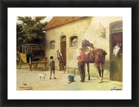 A family in front of their house Picture Frame print