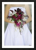 Bride's Bouquet And Wedding Dress Picture Frame print