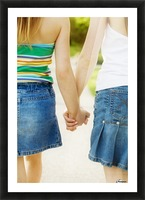 Rear View Of Girls Holding Hands Picture Frame print