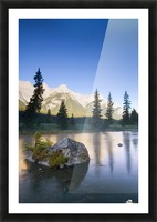 Sunrise And Early Morning Mist On Mountain River Picture Frame print