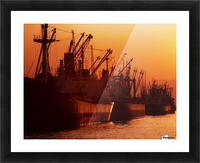 Shipping Freighters At Sunset Picture Frame print