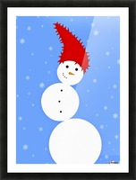 Illustration Of A Snowman Picture Frame print