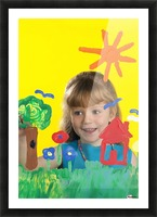 Girl Painting On Glass Picture Frame print