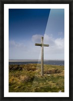 Grave Site Marked By A Cross On A Hill Picture Frame print
