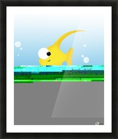 Illustration Of Fish And Bubbles Picture Frame print
