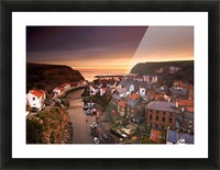 Cityscape At Sunset, Staithes, Yorkshire, England Picture Frame print